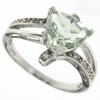 2.14ctw Green Amethyst and White Sapphire Ring in Sterling Silver
