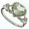 1.54ctw Green Amethyst and Diamond Ring in Sterling Silver