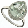 3.64ctw Green Amethyst and Diamond Ring in Sterling Silver