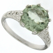 3.41ctw Green Amethyst and Diamond Ring in Sterling Silver