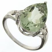 4.91ctw Green Amethyst and Diamond Ring in Sterling Silver