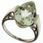 4.58ctw Green Amethyst and Diamond Ring in Sterling Silver