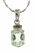 "1.52ctw Green Amethyst and Diamond Pendant in Sterling Silver with 18"" Chain"