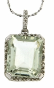 "5.51ctw Green Amethyst and Diamond Pendant in Sterling Silver with 18"" Chain"