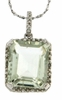 """5.51ctw Green Amethyst and Diamond Pendant in Sterling Silver with 18"""" Chain"""