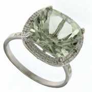 6.47ctw Green Amethyst and Diamond Ring in  Sterling Silver