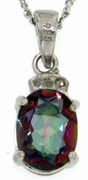 "1.52ctw Mystic and Diamond Pendant in Sterling Silver with 18"" Chain"