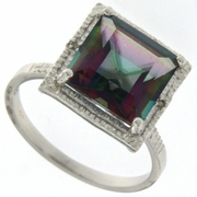 5.08ctw Mystic and Diamond Ring in Sterling Silver