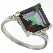 5.14ctw Mystic and Diamond Ring in Sterling Silver