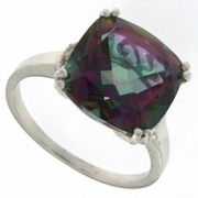 6.81ctw Mystic and Diamond Ring in Sterling Silver