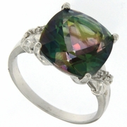 6.46ctw Mystic and Diamond Ring in Sterling Silver