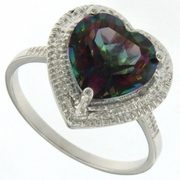 3.19ctw Mystic and Diamond Ring in Sterling Silver