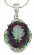 "5.51ctw Mystic and Diamond Pendant in Sterling Silver with 18"" Chain"