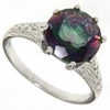 3.41ctw Mystic and Diamond Ring in Sterling Silver