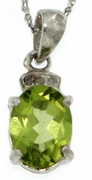 "1.52ctw Peridot and DIamond Pendant in Sterling Silver with 18"" Chain"