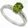 1.41ctw Peridot and Diamond Ring in Sterling Silver
