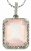"5.51ctw Rose Quartz and Diamond Pendant in Sterling Silver with 18"" Chain"