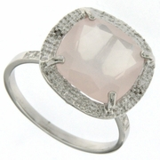 6.01ctw Rose Quartz and Diamond Ring in Sterling Silver