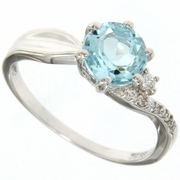 1.66ctw Sky Topaz and White Sapphire Solitaire Ring in Sterling Silver