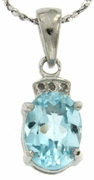 "1.52ctw Sky Topaz and Diamond Pendant in Sterling Silver with 18"" Chain"