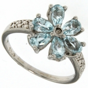1.36ctw Sky Topaz and Diamond Ring in Sterling Silver