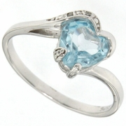 1.26ctw Sky Topaz and Diamond Ring in Sterling Silver