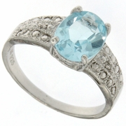 2.41ctw Sky Topaz and Diamond Ring in Sterling Silver