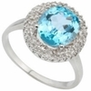 2.11ctw Sky Topaz and Diamond Ring in Sterling Silver