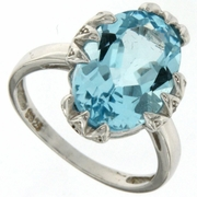 7.28ctw Sky Topaz and Diamond Ring in Sterling Silver