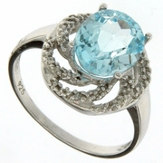 3.17ctw Sky Topaz and Diamond Ring in Sterling Silver