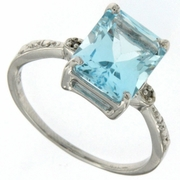4.01ctw Sky Topaz and Diamond Ring in Sterling Silver