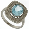 3.15ctw Sky Topaz and Diamond Ring in Sterling Silver