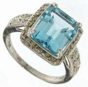5.40ctw Sky Topaz Ring in Sterling Silver