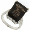 13.01ctw Smoky Topaz and Diamond Ring in Sterling Silver