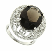 12.00ctw Smoky Topaz Ring in Sterling Silver