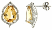 3.21ctw Citrine and Diamond Earrings in Sterling Silver