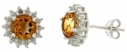 1.56ctw Citrine and Diamond Earrings in Sterling Silver