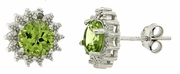 2.01ctw Peridot and Diamond Earrings in Sterling Silver