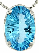 "3.65ctw Swiss Blue Topaz Pendant in Sterling Silver with 18"" Chain"