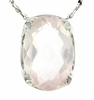 "2.80ctw Rose Quartz Pendant in Sterling Silver with 18""Chain"