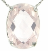 "5.23ctw Rose Quartz Pendant in Sterling Silver with 18""Chain"