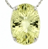 "5.60ctw Lemon Quartz Pendant in Sterling Silver with 18""Chain"