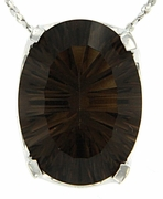 "7.85ctw Smokey Quartz Pendant in Sterling Silver with 18""Chain"