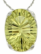 "8.00ctw Lemon Quartz Pendant in Sterling Silver with 18""Chain"