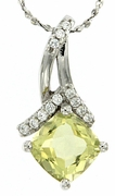 "1.43ctw Lemon Quartz Pendant in Sterling Silver with 18""Chain"