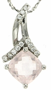 """1.40ctw Rose Quartz Pendant in Sterling Silver with 18""""Chain"""