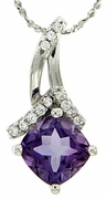 "1.41ctw Amethyst Pendant in Sterling Silver with 18"" Chain"