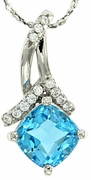 "1.78ctw Swiss Blue Topaz Pendant in Sterling Silver with 18"" Chain"