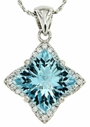 "4.43ctw Sky Topaz Pendant in Sterling Silver with 18"" Chain"