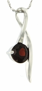 "1.63ctw Garnet Pendant in Sterling Silver with 18"" Chain"